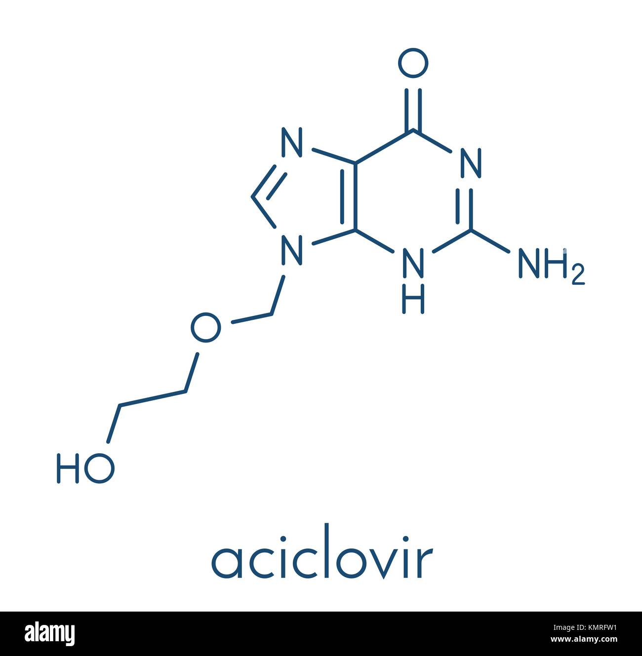 Aciclovir (acyclovir) antiviral drug molecule. Used in treatment of herpes simplex virus (cold sores), herpes zoster Stock Vector
