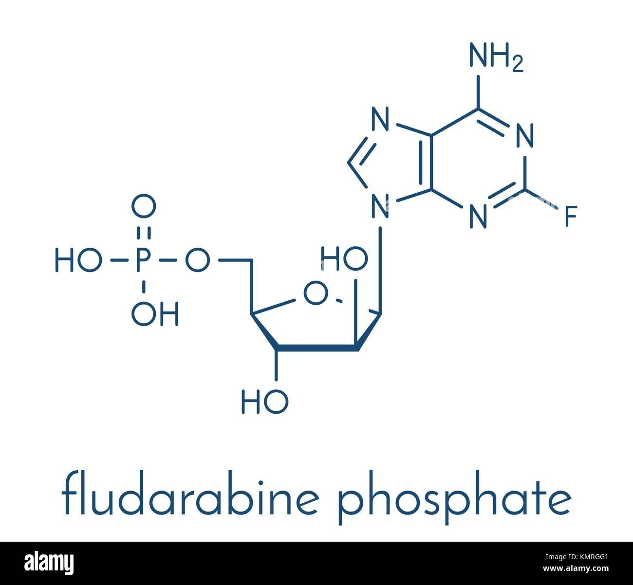 Fludarabine phosphate blood cancer drug molecule. Skeletal formula. - Stock Image