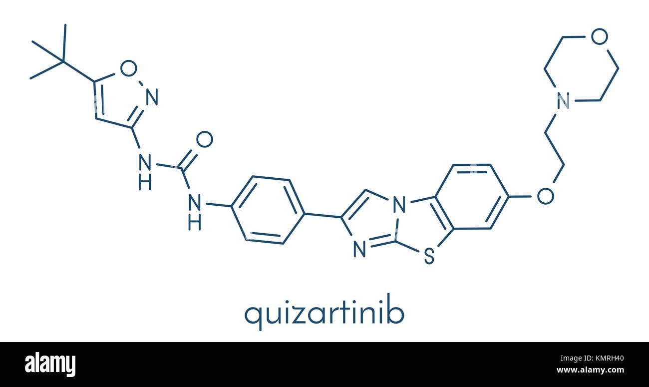 Quizartinib investigational acute myeloid leukemia (AML) drug, chemical structure Skeletal formula. - Stock Image