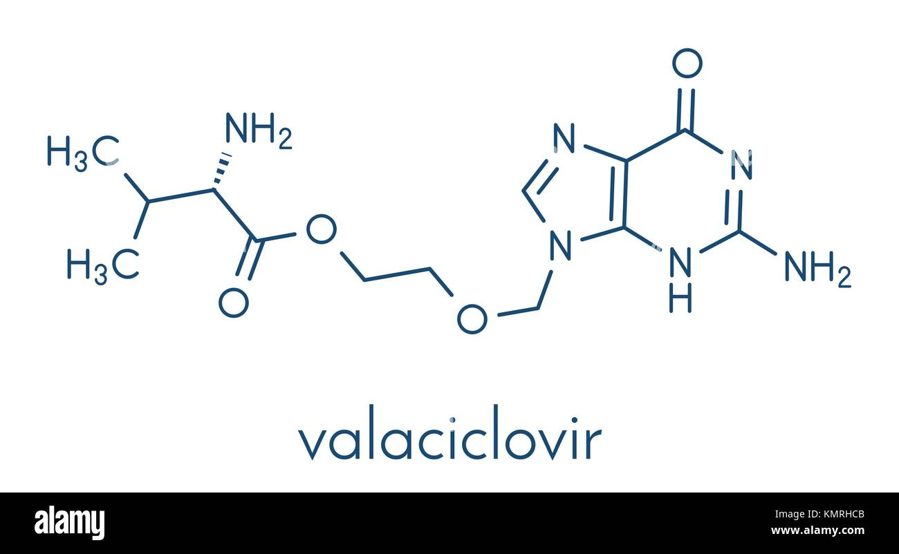 Valaciclovir (valacyclovir) herpes infection drug molecule. Skeletal formula. - Stock Image