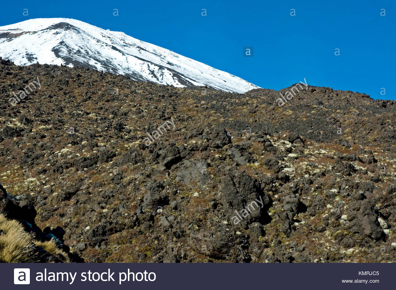 Mount Ngarahoe, Tongariro National Park, Tongariro, North Island, New Zealand - Stock Image