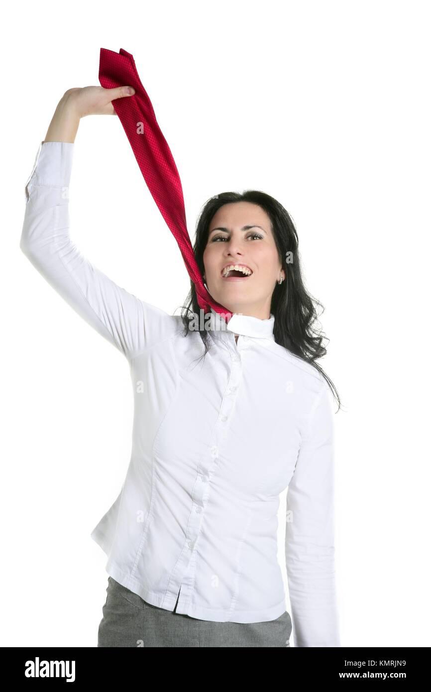Depressed businesswoman strangle suicide with self tie - Stock Image