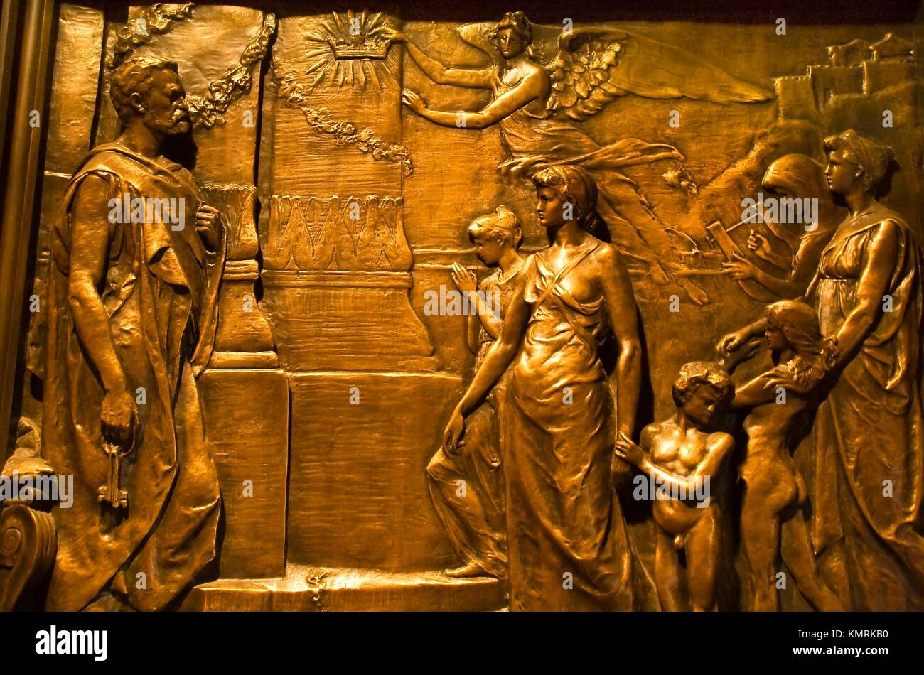 Bronze Door Details Trinity Church New York City Modeled on the Bronze Doors at Duomo Cathedral in Florence Bronze scuplture shows Peter with the & Bronze Door Details Trinity Church New York City Modeled on the ...