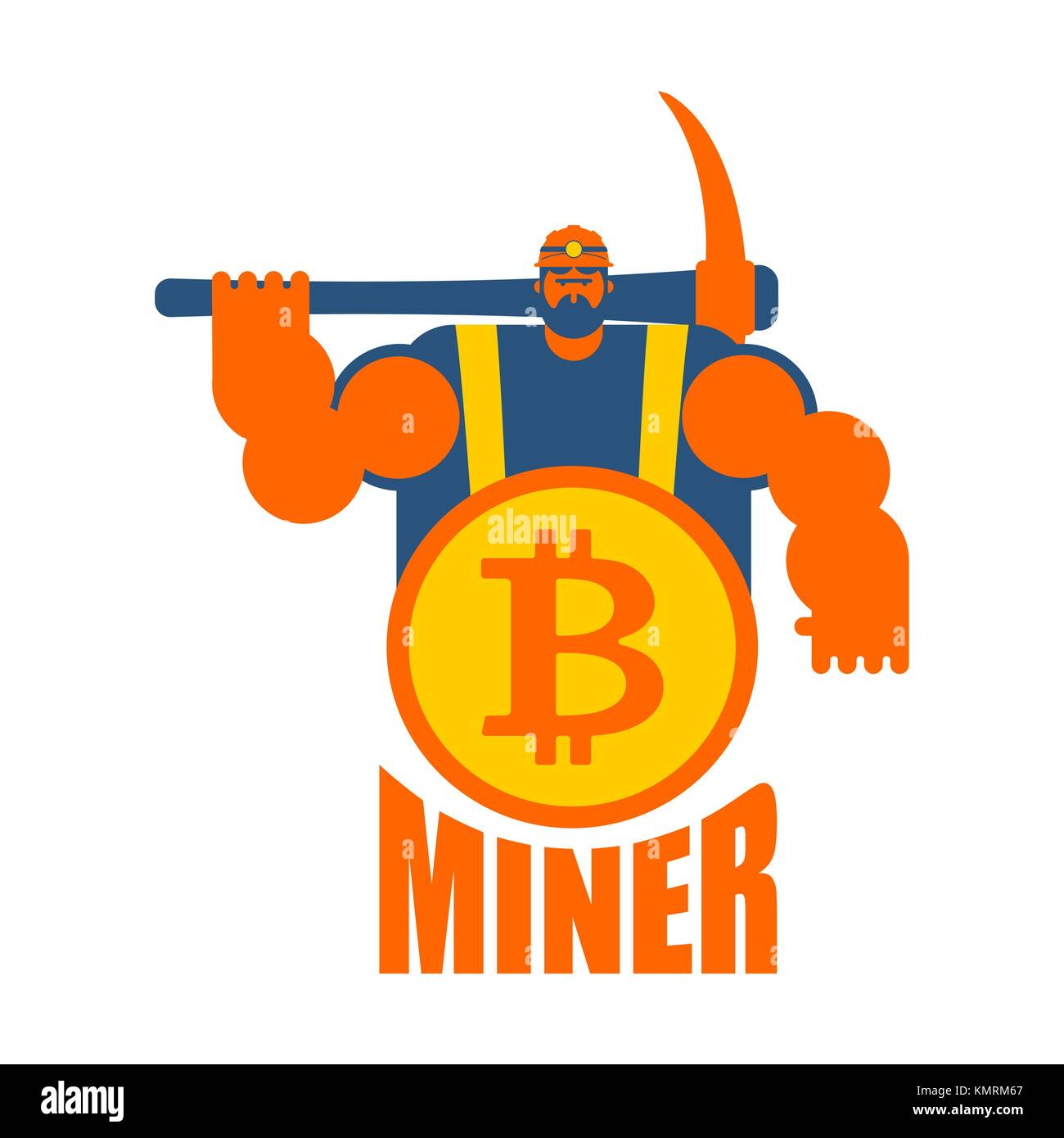 Miner Logo Mining Bitcoin Crypto Currencies Worker With Pickaxe