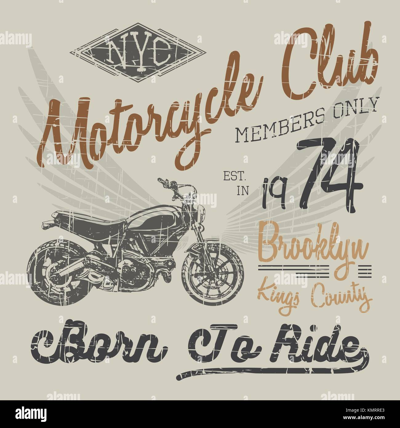 568809ed8 T-shirt typography design, motorcycle vector, NYC printing graphics,  typographic vector illustration