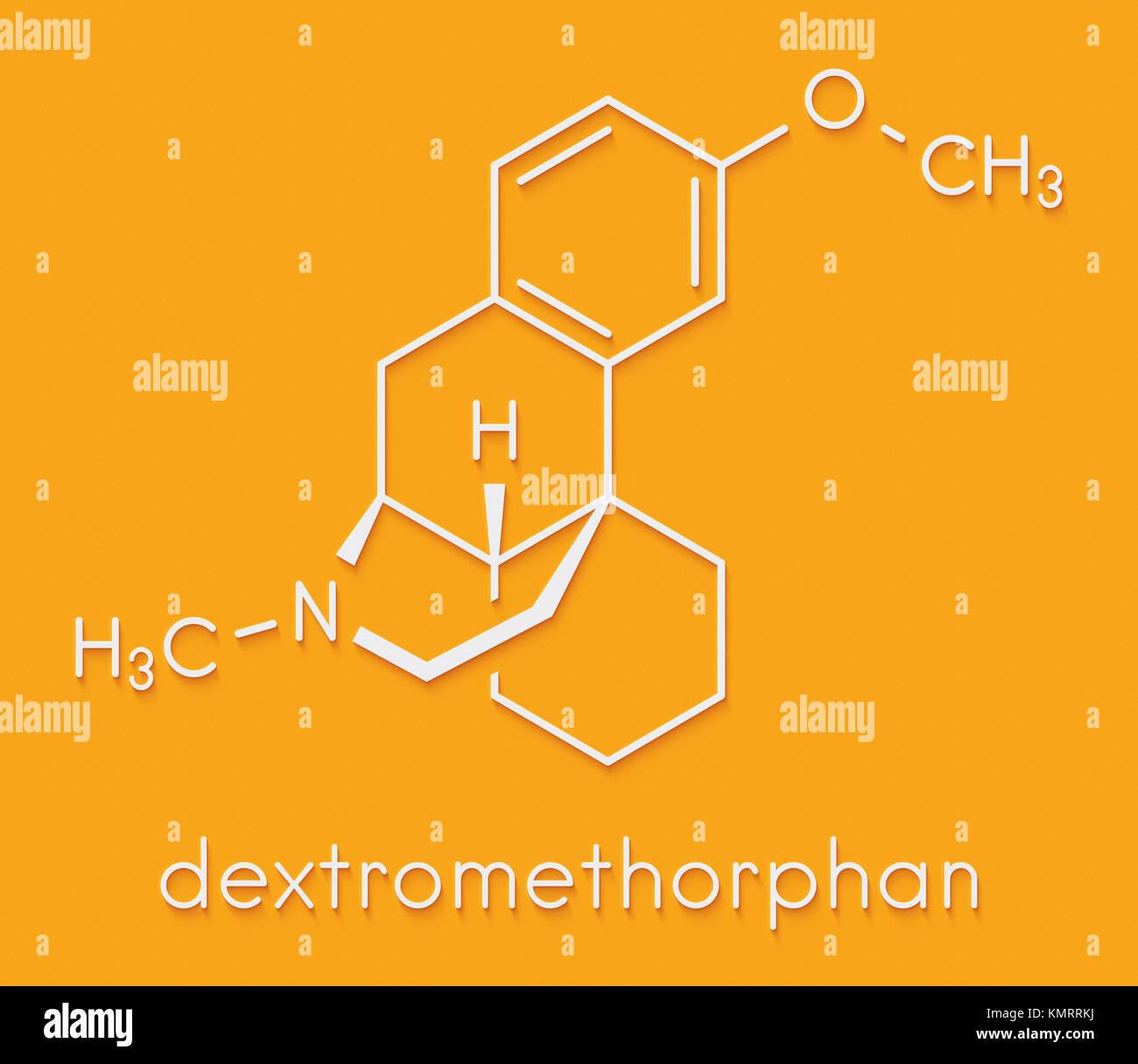 Dextromethorphan cough suppressant drug (antitussive) molecule. Skeletal formula. - Stock Image