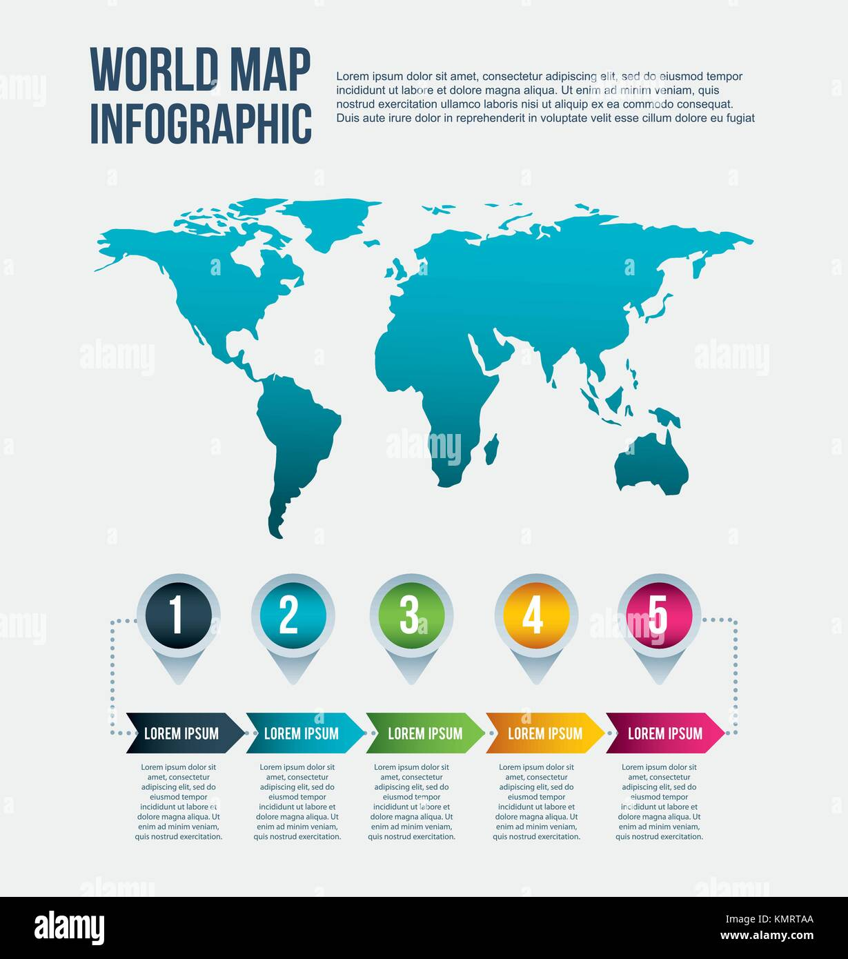 World map infographic steps info arrow concept stock vector art world map infographic steps info arrow concept gumiabroncs Image collections