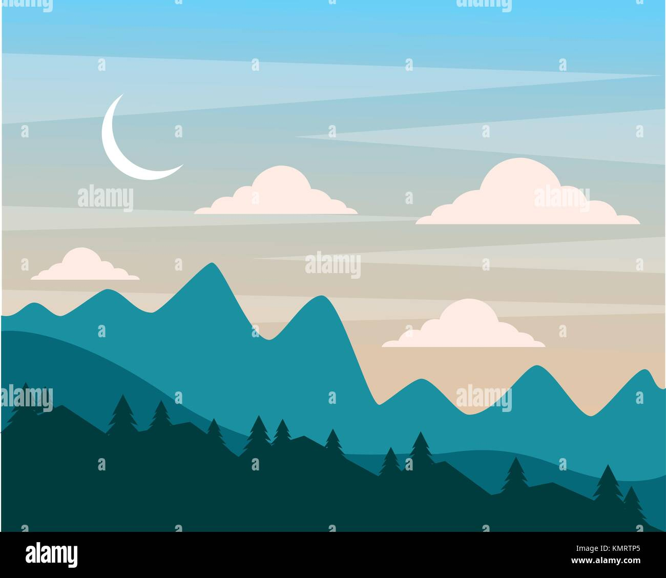 Night Hills Landscape Mountains Trees And Moon Clouds Sky