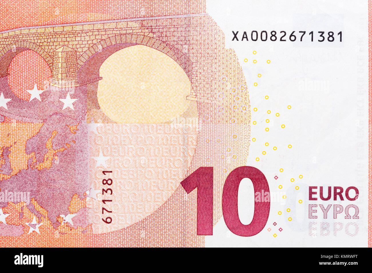 Photo of ten euro banknote in macro. - Stock Image