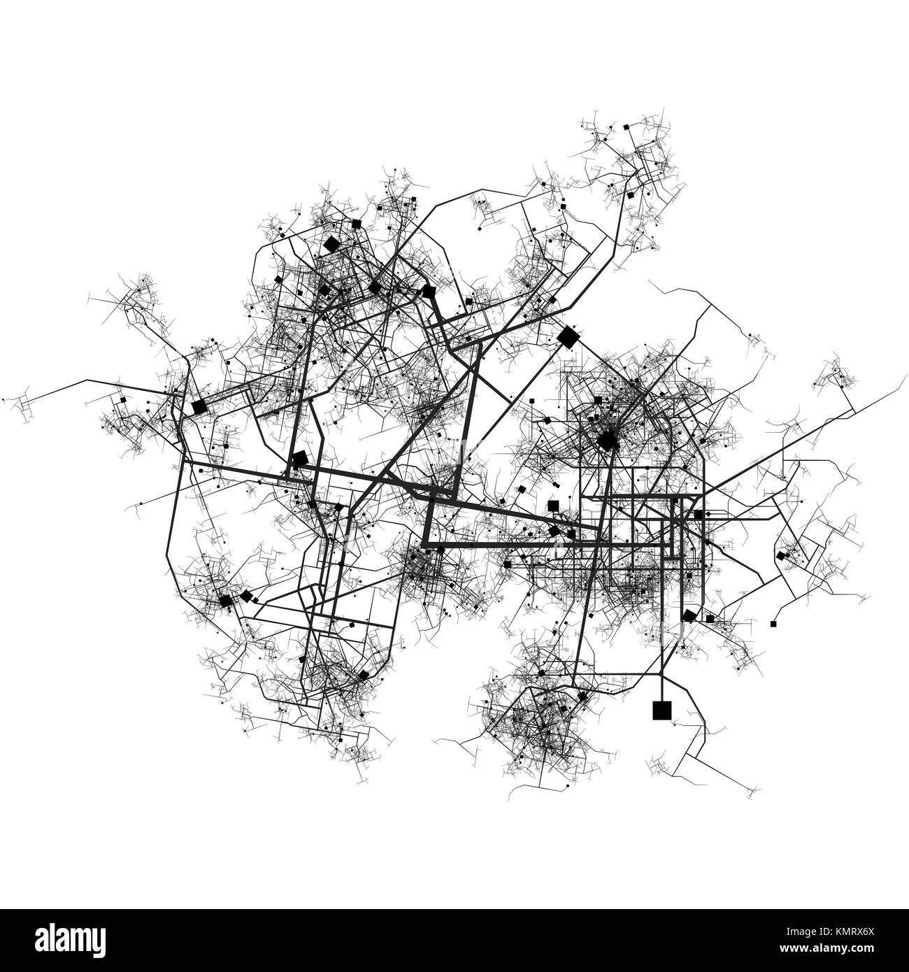 Intricate Fictional City Map with Roads and Buildings Top View - Stock Image