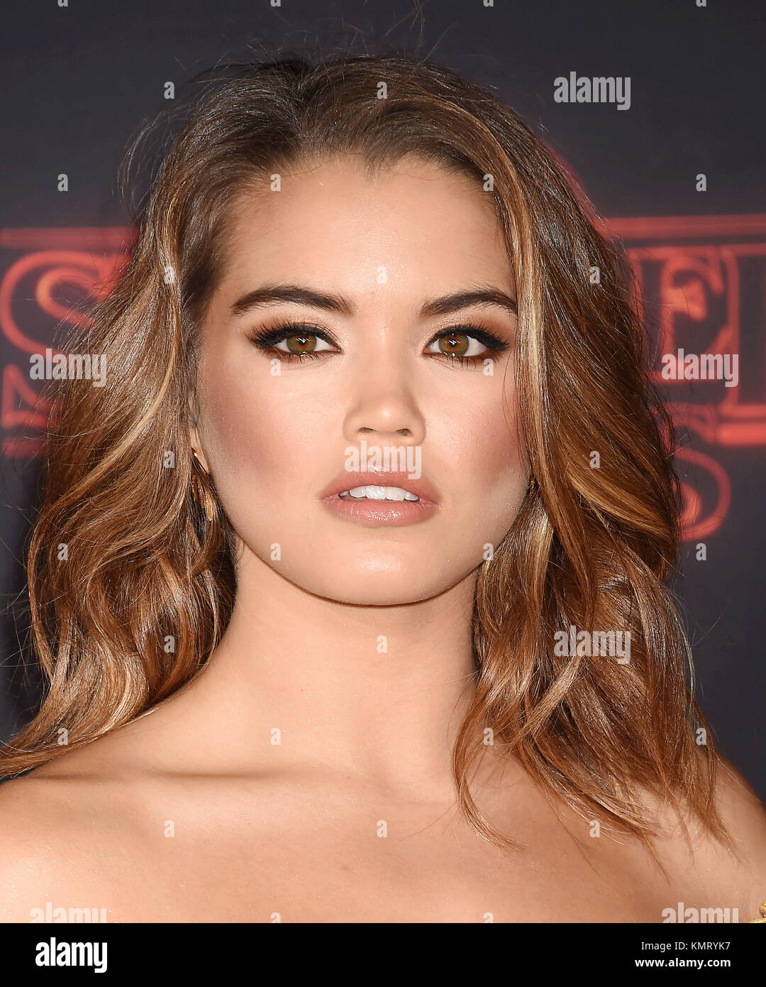 PARIS BERELC US film actress and model  arrives at the Premiere Of Netflix's 'Stranger Things' Season - Stock Image