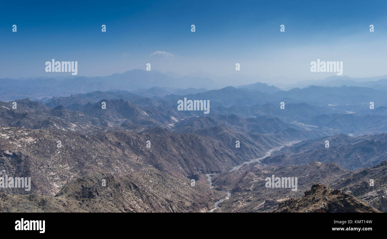 Al Hada Mountain in Taif City, Saudi Arabia with Beautiful View of Mountains and Al Hada road inbetween the mountains. - Stock Image