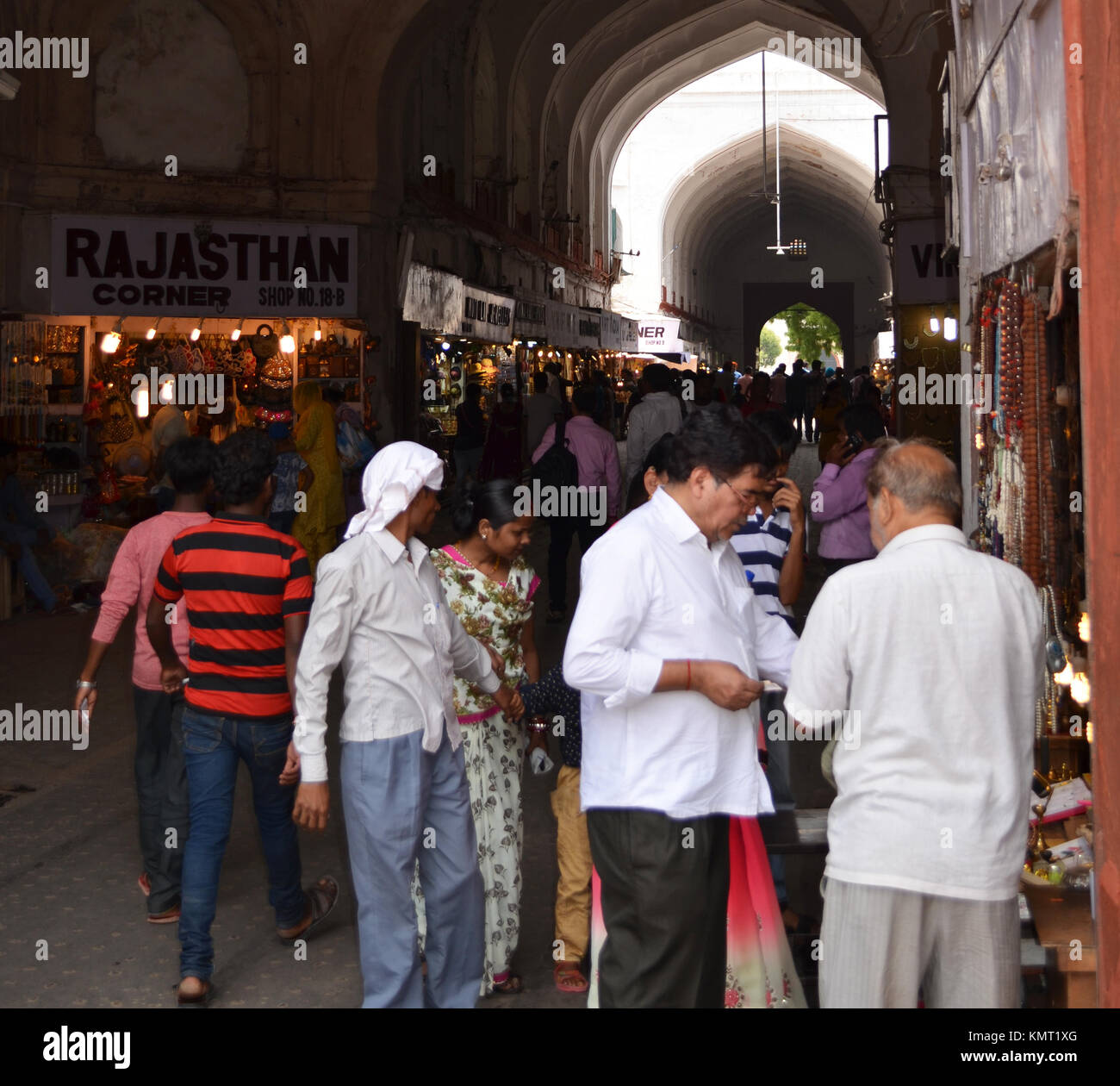Negotiation, people negotiating a purchase in shopping area inside Red Fort New Delhi India - Stock Image