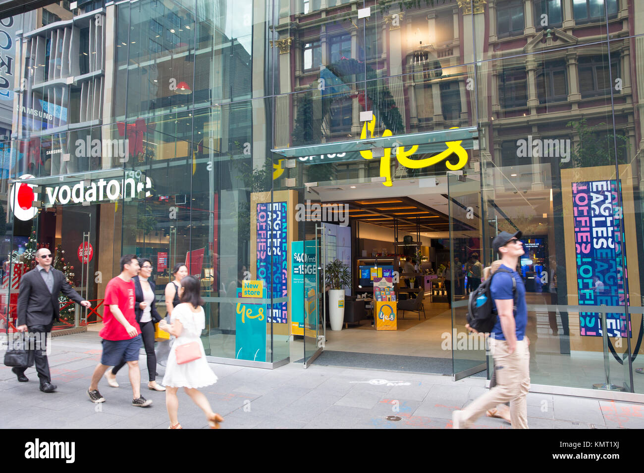 Vodafone and Optus telecommunications and electronics phones shops in George street,Sydney,Australia - Stock Image