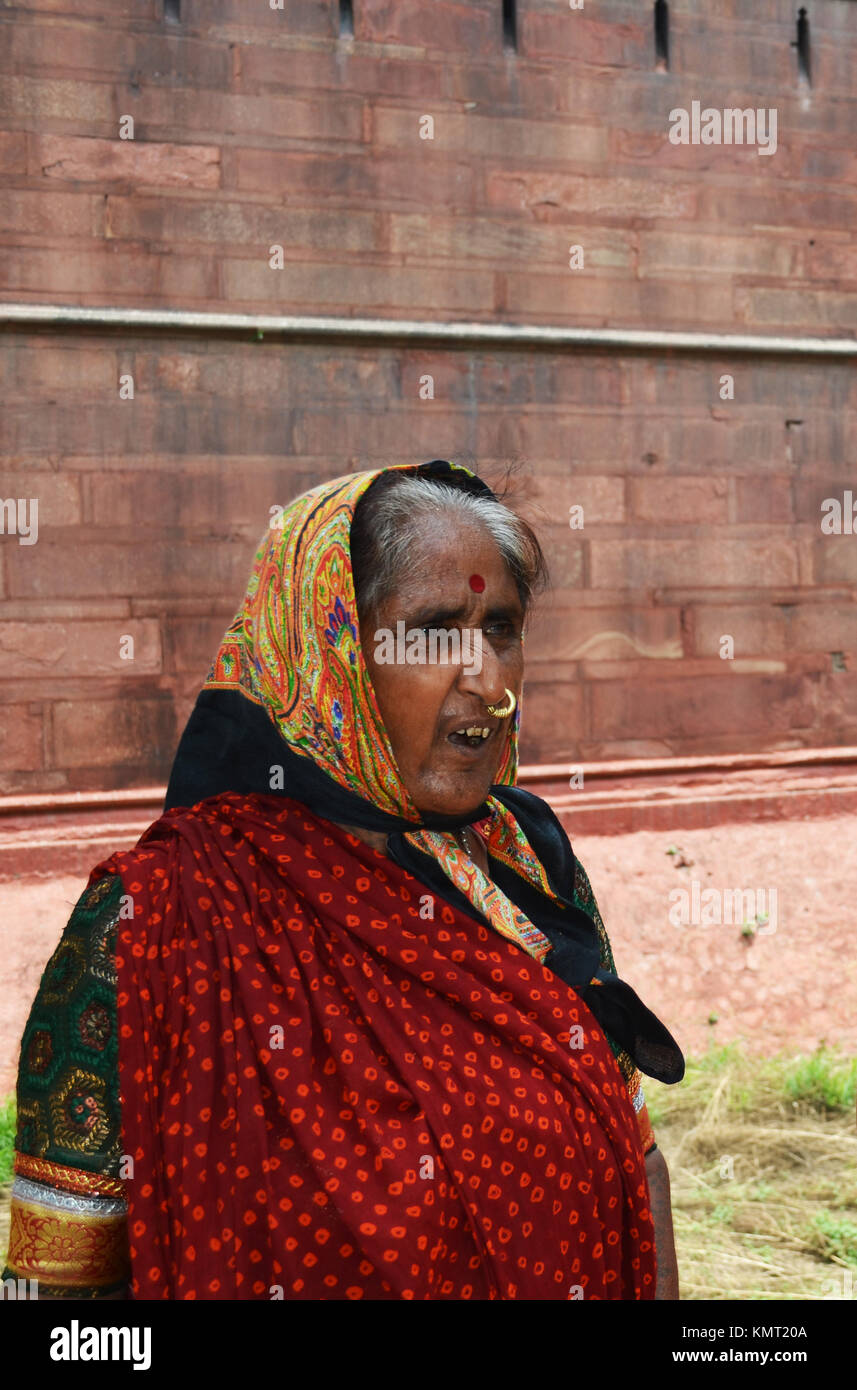 Scowling old lady looking stern, taken at Red Fort New Delhi India - Stock Image