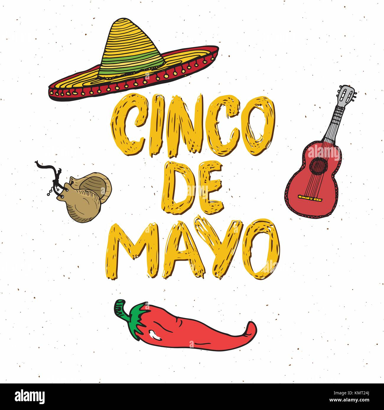 Happy cinco de mayo greeting card hand lettering mexican holiday happy cinco de mayo greeting card hand lettering mexican holiday vector illustration isolated on white background m4hsunfo