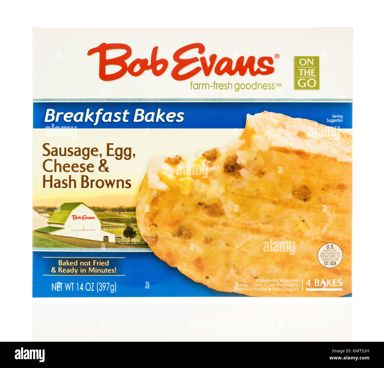 Winneconne, WI - 1 December 2017:  The box of Bob Evans breakfast bakes on an on an isolated background. - Stock Image