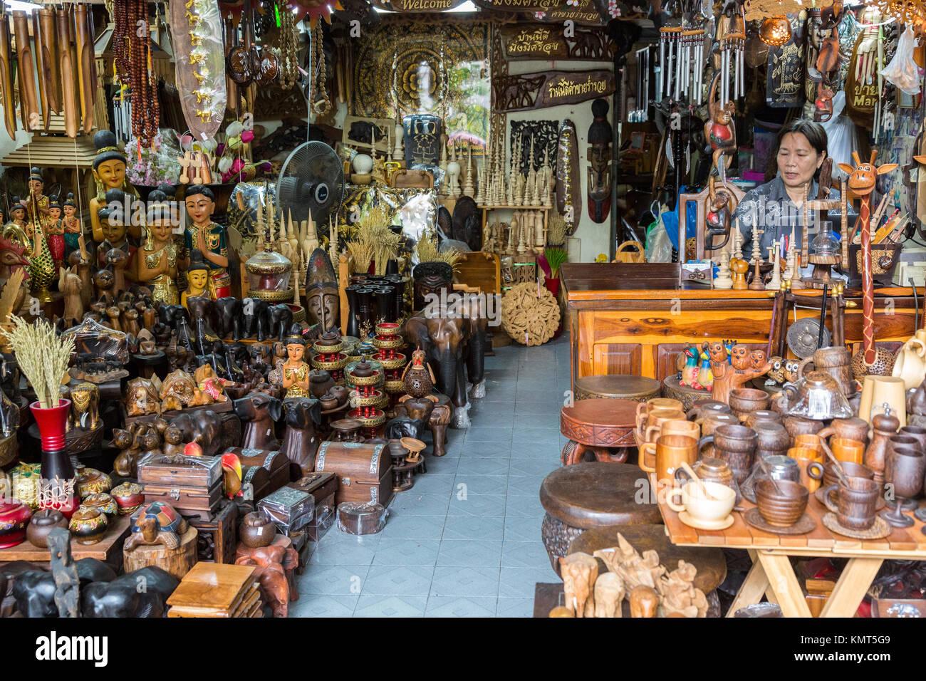 Bangkok Thailand Souvenir And Handicrafts Shop Stock Photo
