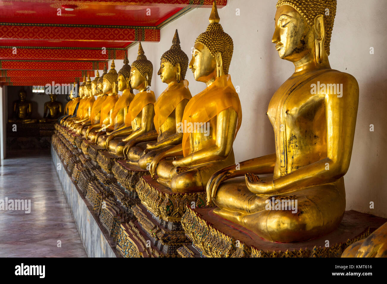 Bangkok, Thailand.  Buddhas in the South Pavilion of the Wat Pho  Temple Complex.  The Buddhas are demonstrating - Stock Image