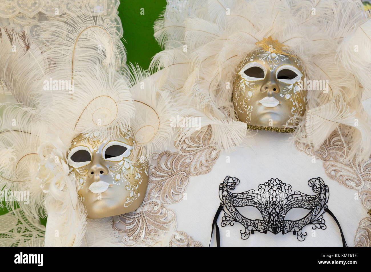Closeup of masks in the Venetian vlllage of Burano, Venice, Italy, Europe. - Stock Image