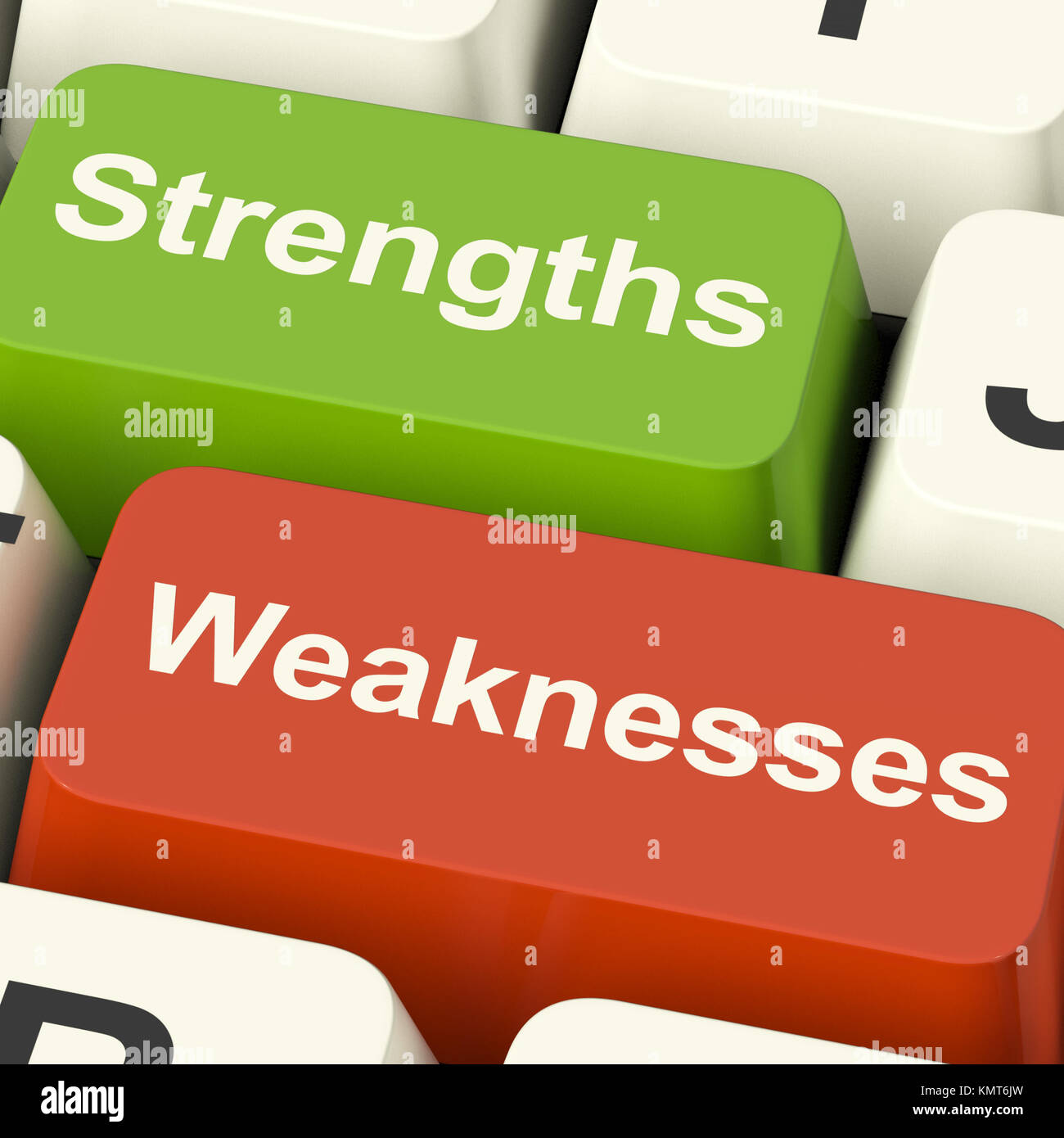 Strengths And Weaknesses Computer Keys Shows Performance Or Analyzing - Stock Image