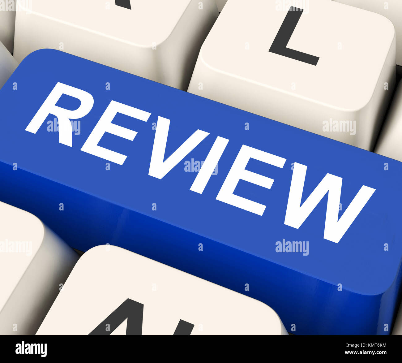 Review Key On Keyboard Meaning Rethink Revise Or Reassess - Stock Image