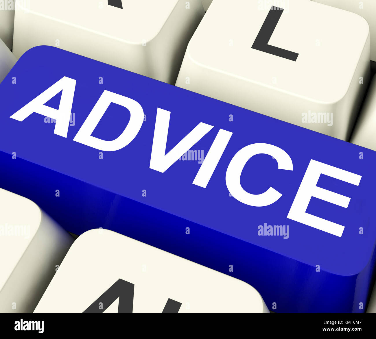 Advice Key On Keyboard Meaning Recommend Suggest Or Counsel - Stock Image