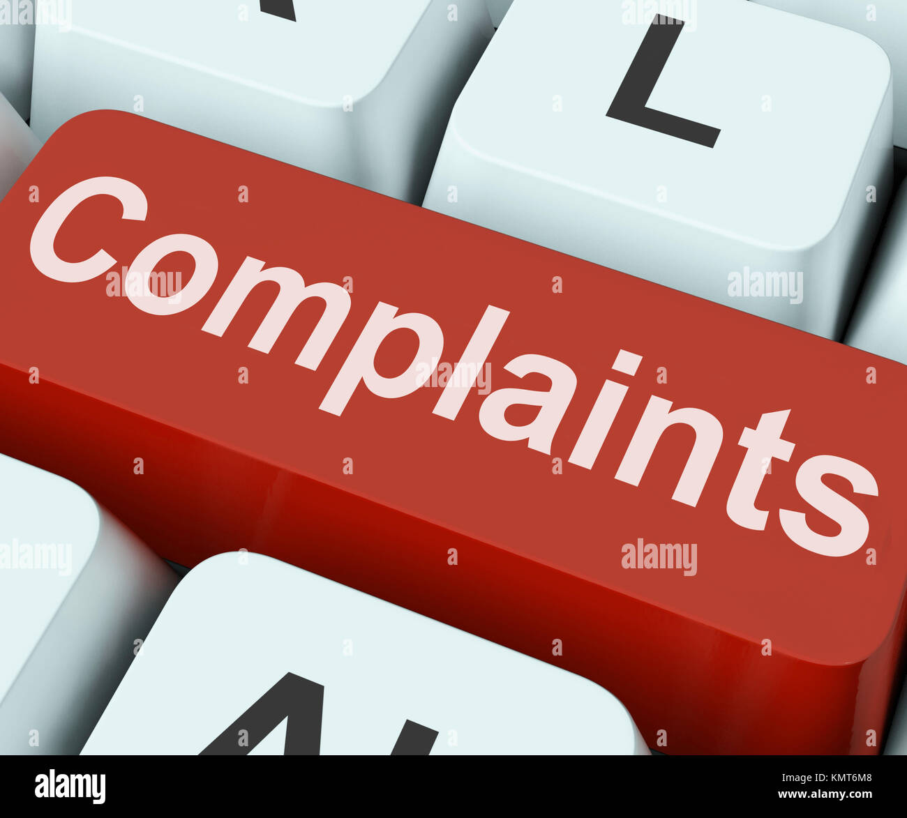 Complaints Key Showing Complaining Or Moaning Online - Stock Image