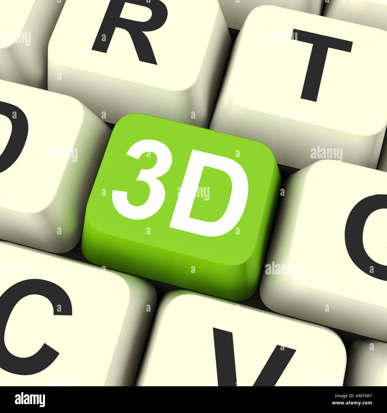 3d Key Showing Three Dimensional Printer Or Font - Stock Image
