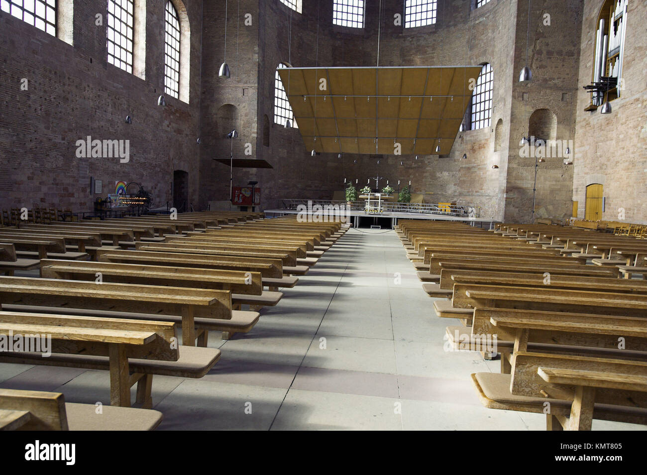 Interior of the Basilica, formerly Emperor Constantine´s throne room, now a Protestant church. Trier. Moselle - Stock Image