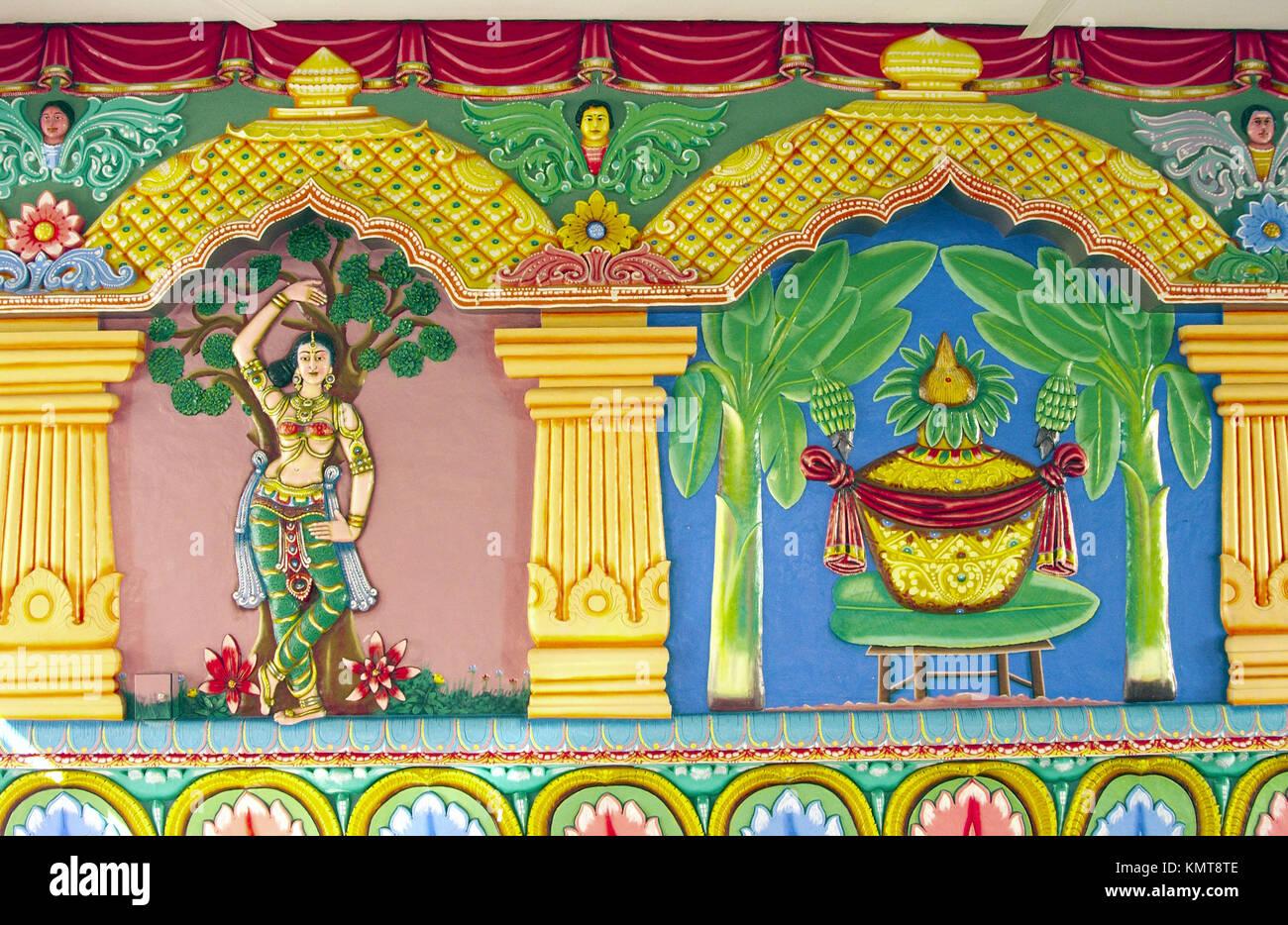 Colorful wall decor at the Sri Srinivasa Perumal Hindu Temple in ...