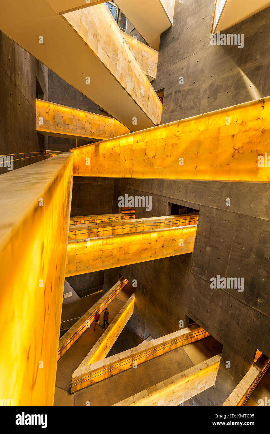Interior alabaster ramps of the Canadian Museum for Human Rights, Winnipeg, Manitoba, Canada. - Stock Image