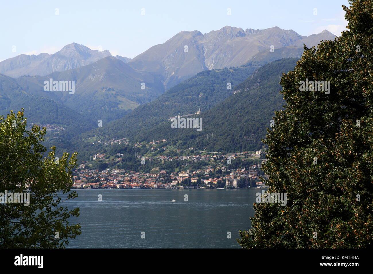 Blick von Piona über den Comer See nach Gravedona Stock Photo