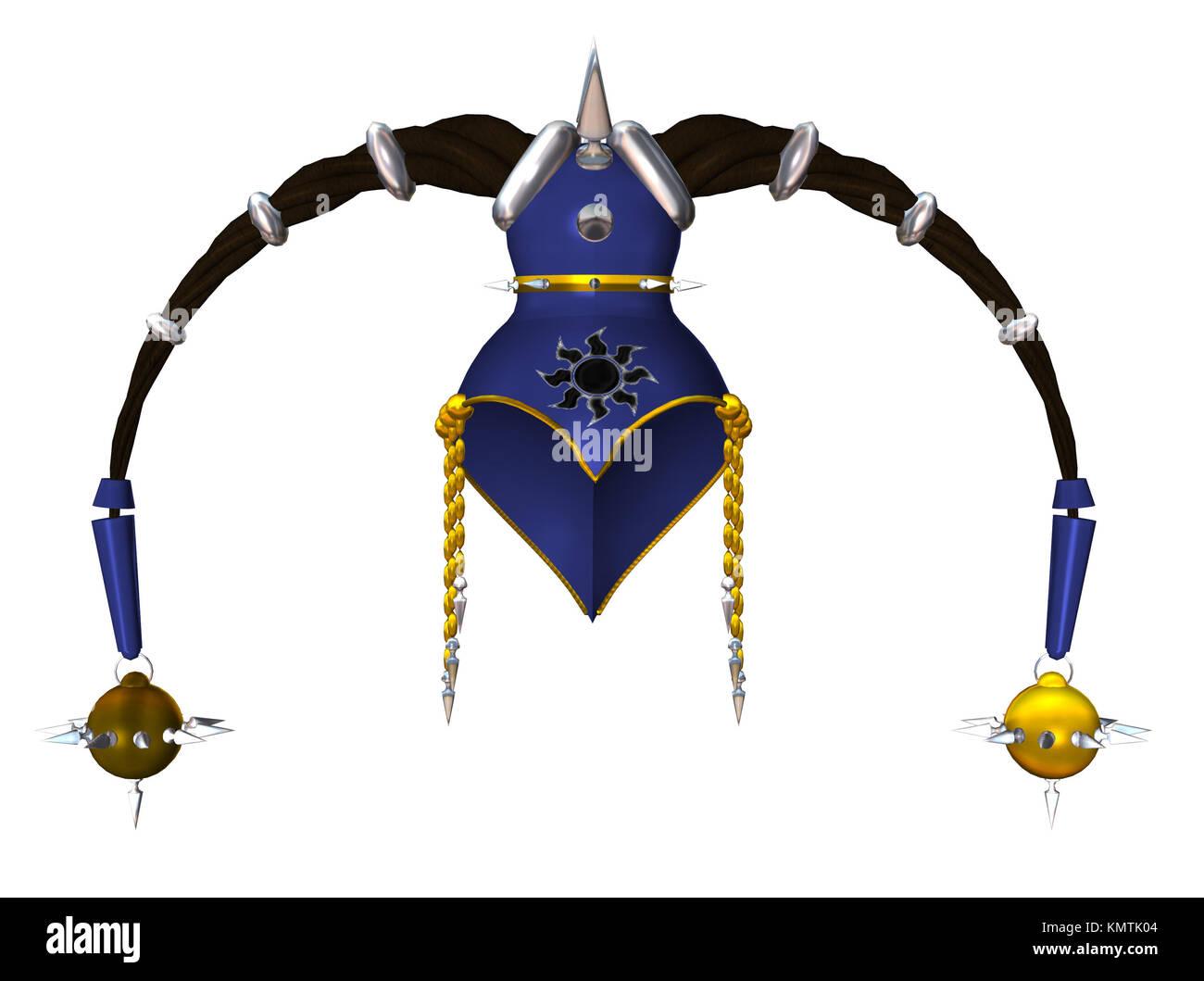 Blue gold headdress - Stock Image