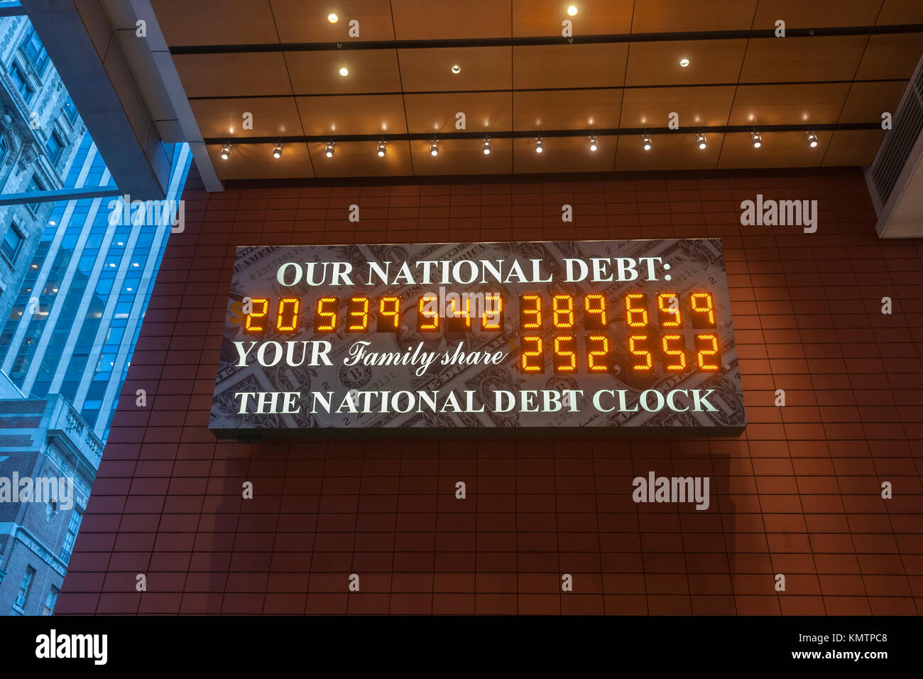 The National Debt Clock is seen at its new location in Anita's Way, a Privately Owned Public Space (POPS), off - Stock Image