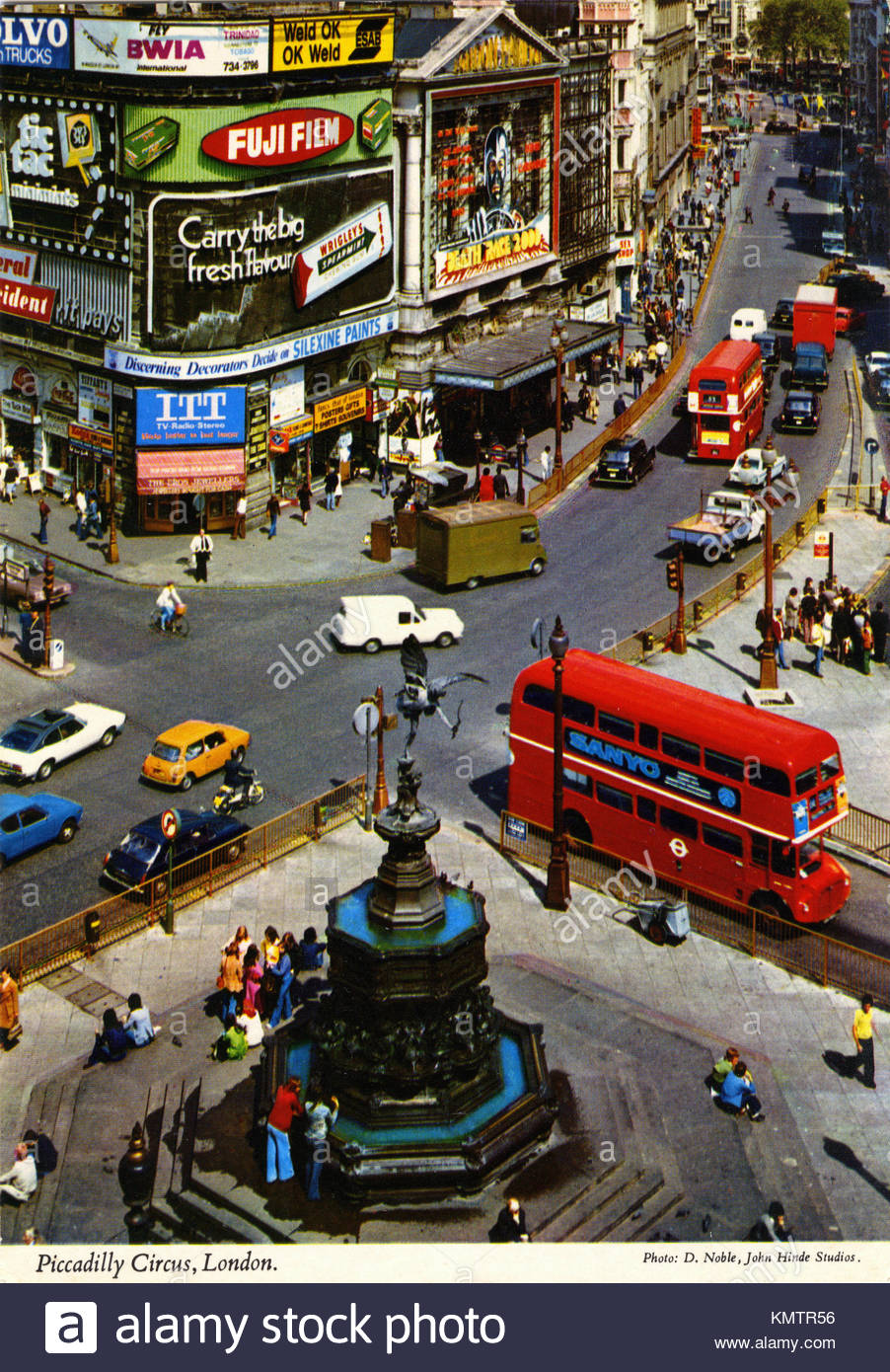 A 1960's postcard of Picadilly Circus, London - Stock Image
