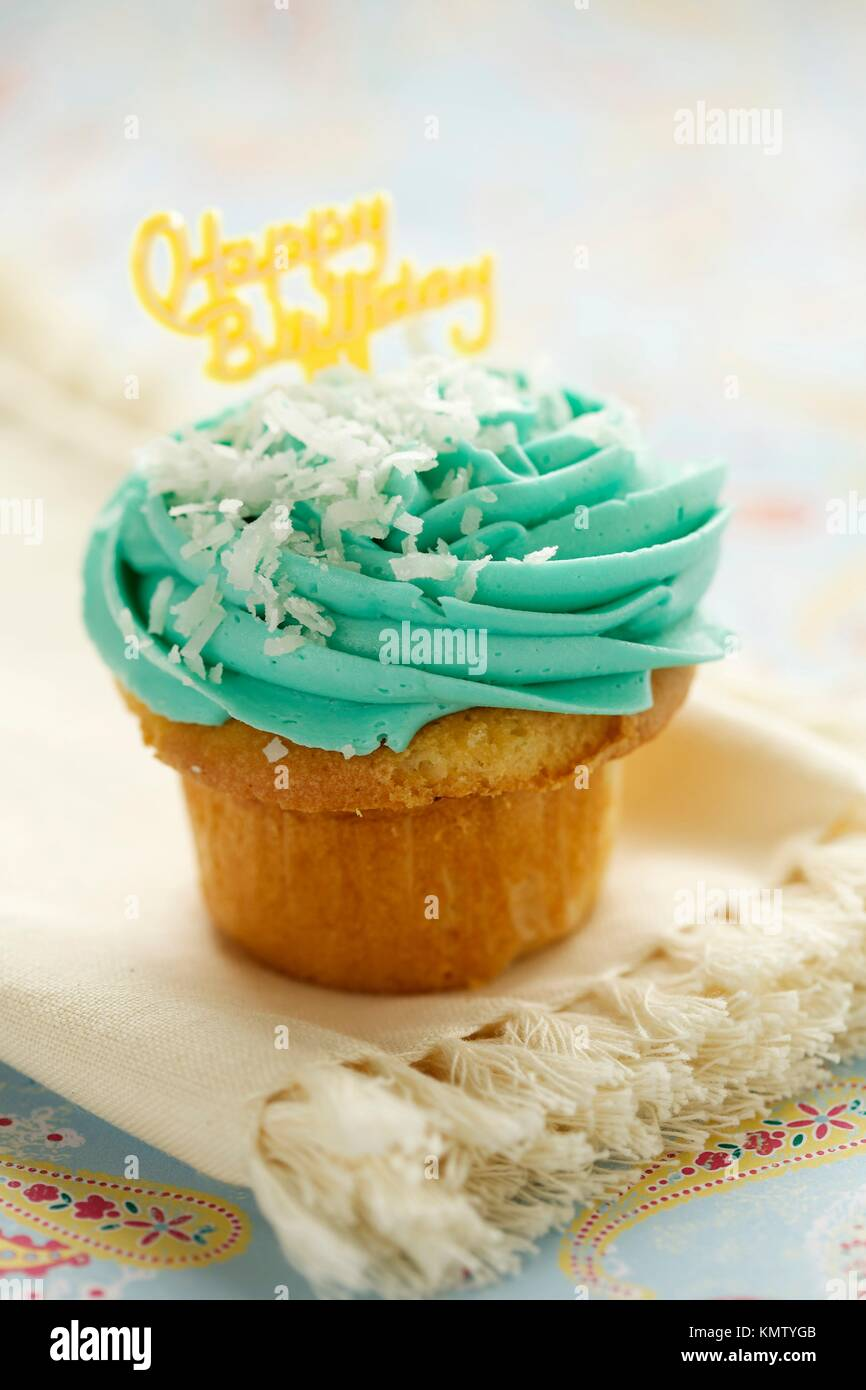 Super Single Blue Cup Cake With Happy Birthday Sign On Top Stock Photo Funny Birthday Cards Online Eattedamsfinfo
