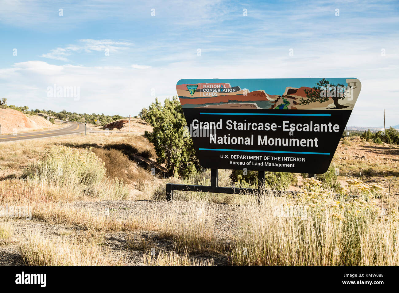 Grand Staircase-Escalante National Monument sign on the side of a highway in Utah - Stock Image