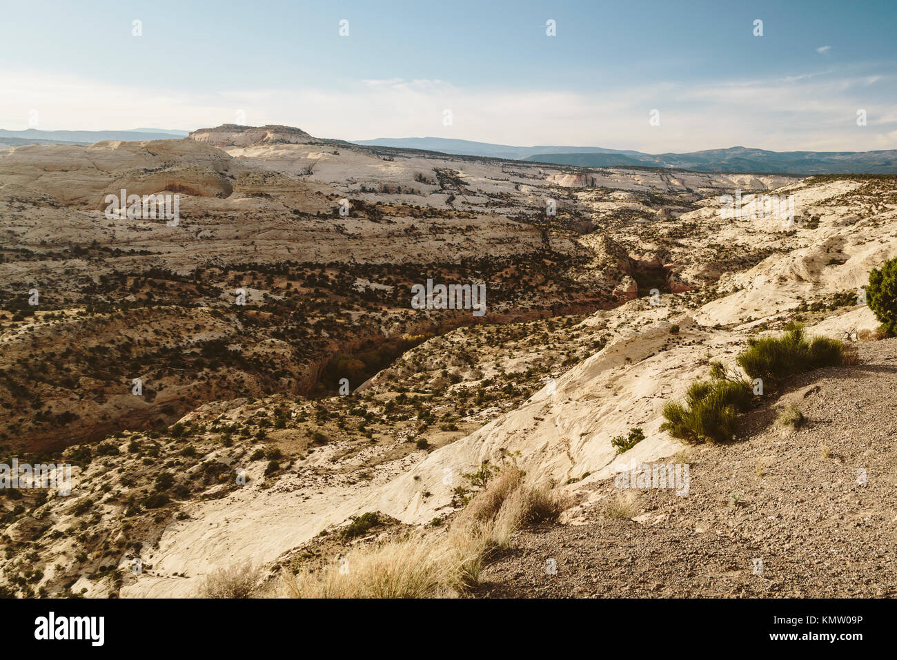 A view of the Grand Staircase–Escalante National Monument landscape in Utah from the top of a vista Stock Photo