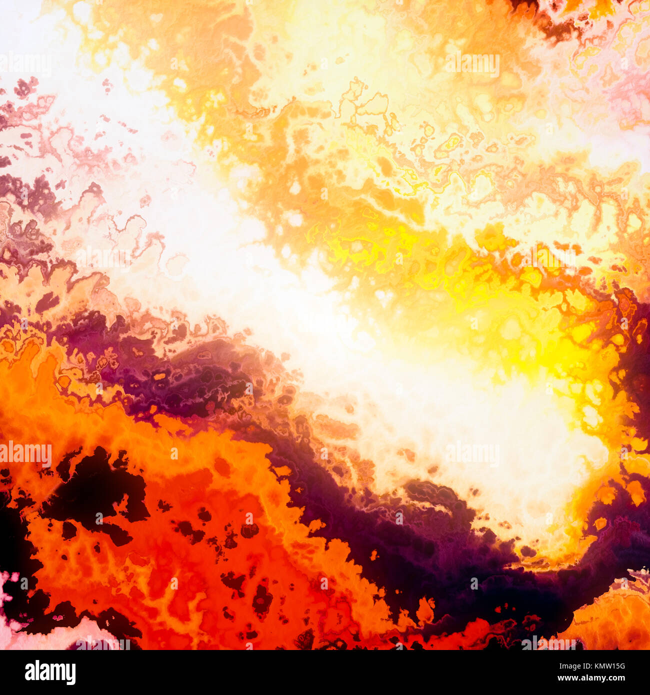 Burning clouds, red flames, abstract illustration Stock Photo