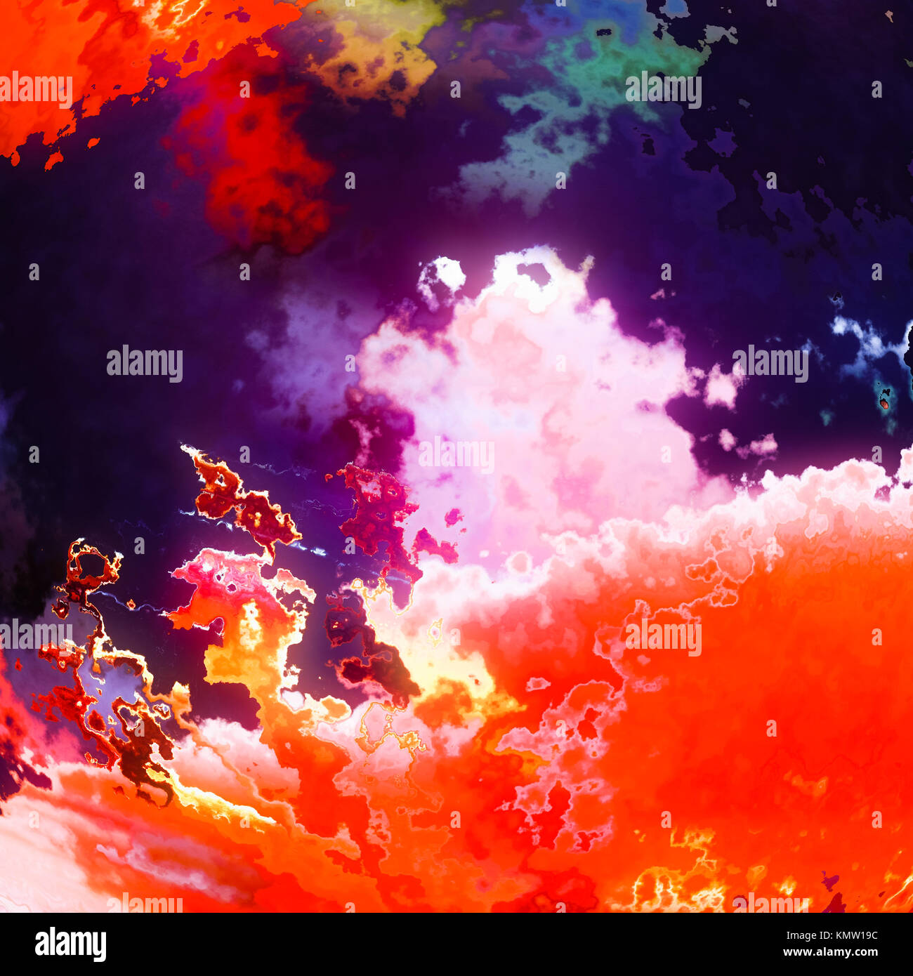 Burning flame clouds, red abstract background illustration Stock Photo