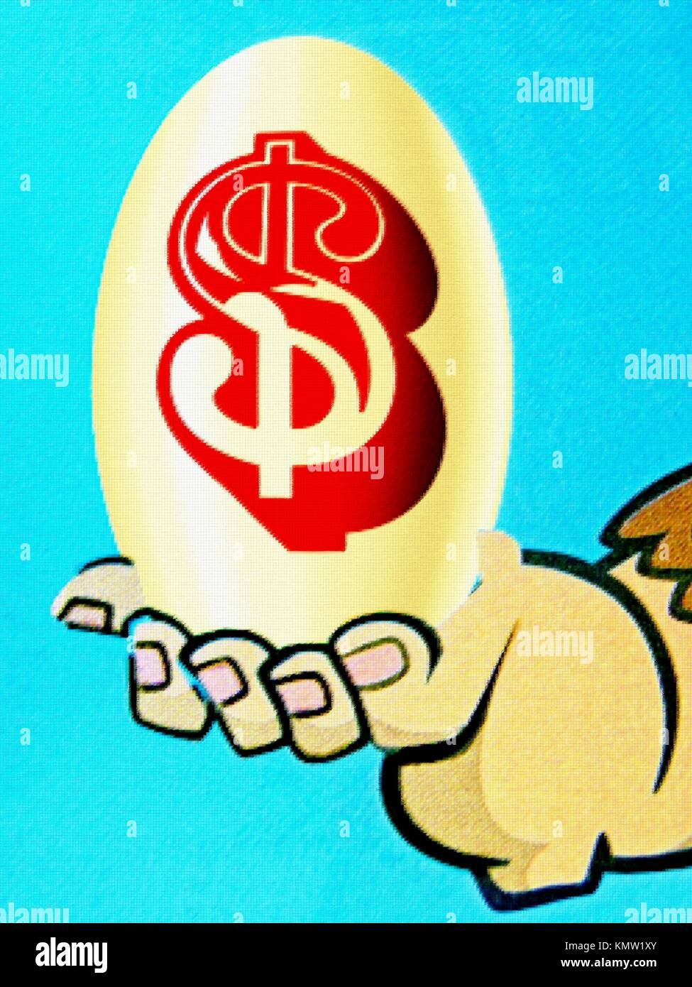 Illustration in Local newspaper, Egg with Dollar sign in Human Hand - Stock Image