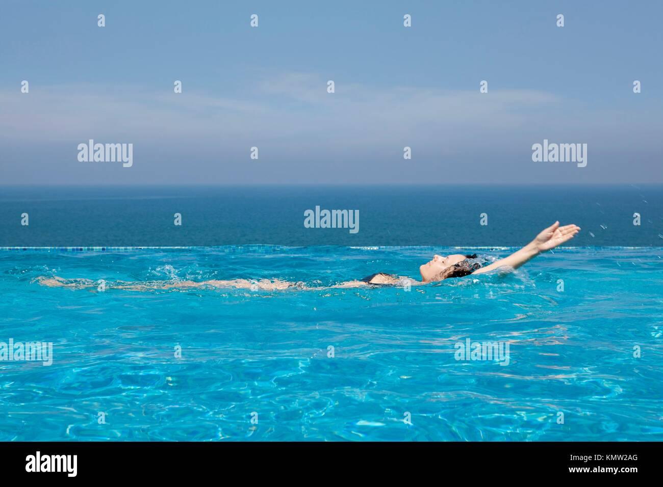 splendid swimming pool in a hotel resort in Kerala state india Stock Photo
