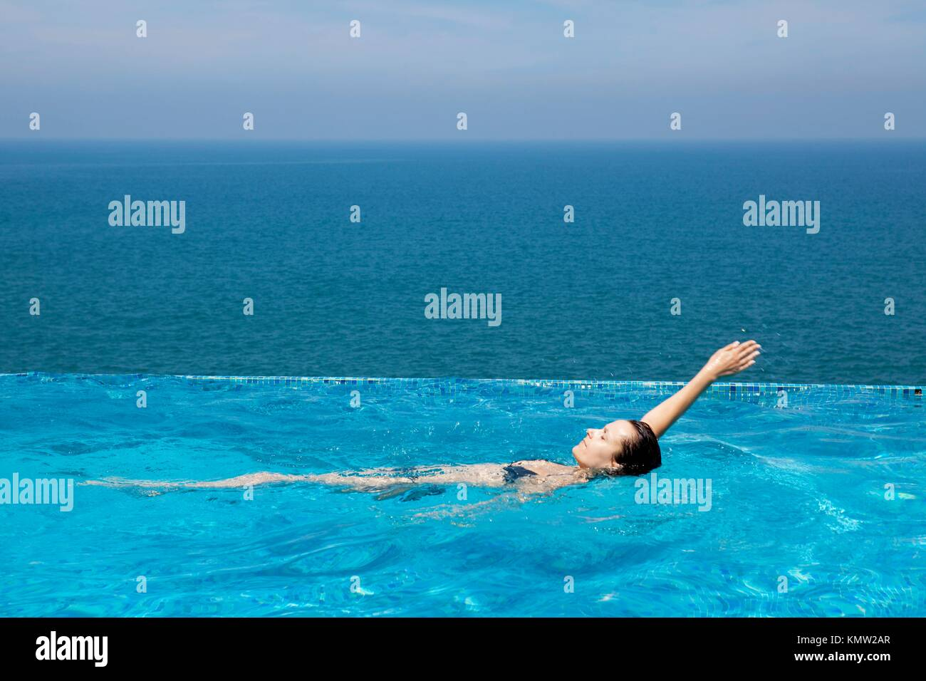 splendid swimming pool in a hotel resort in Kerala state india Stock Photo
