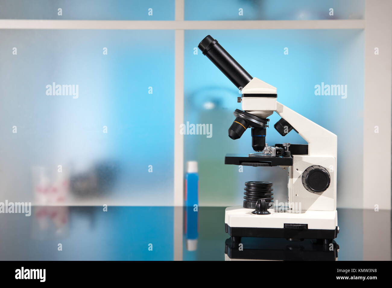 Entry level microscope, copy space - Stock Image