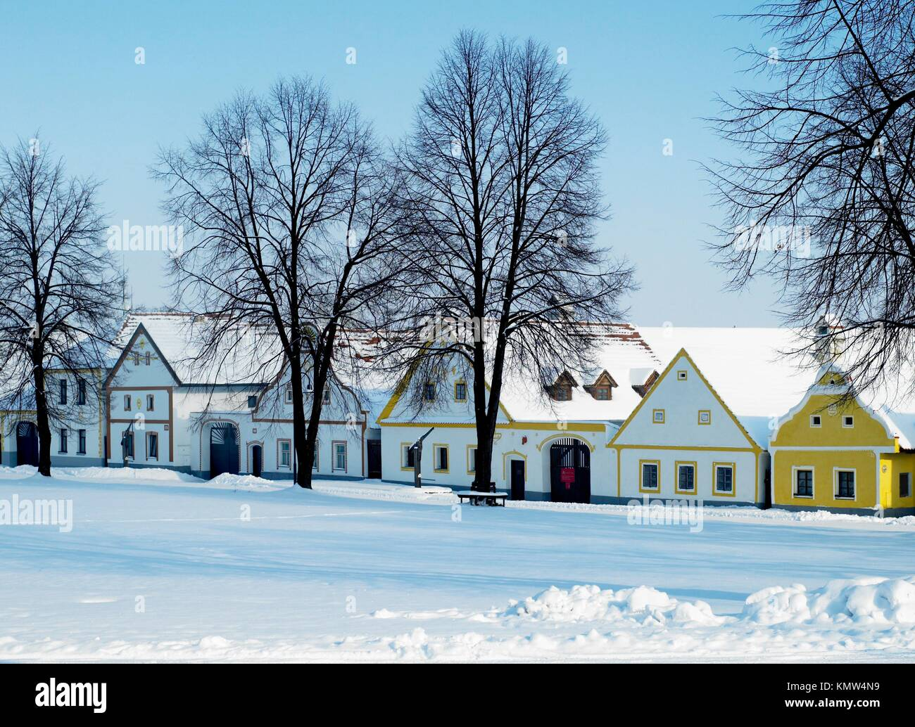 Holasovice in winter, Czech Republic - Stock Image
