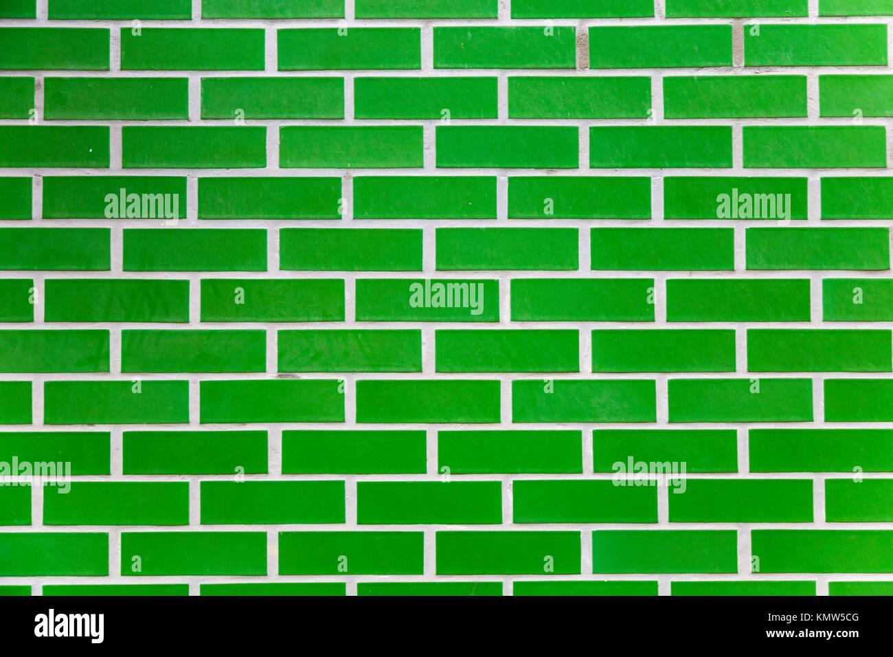 Green brick background Stock Photo
