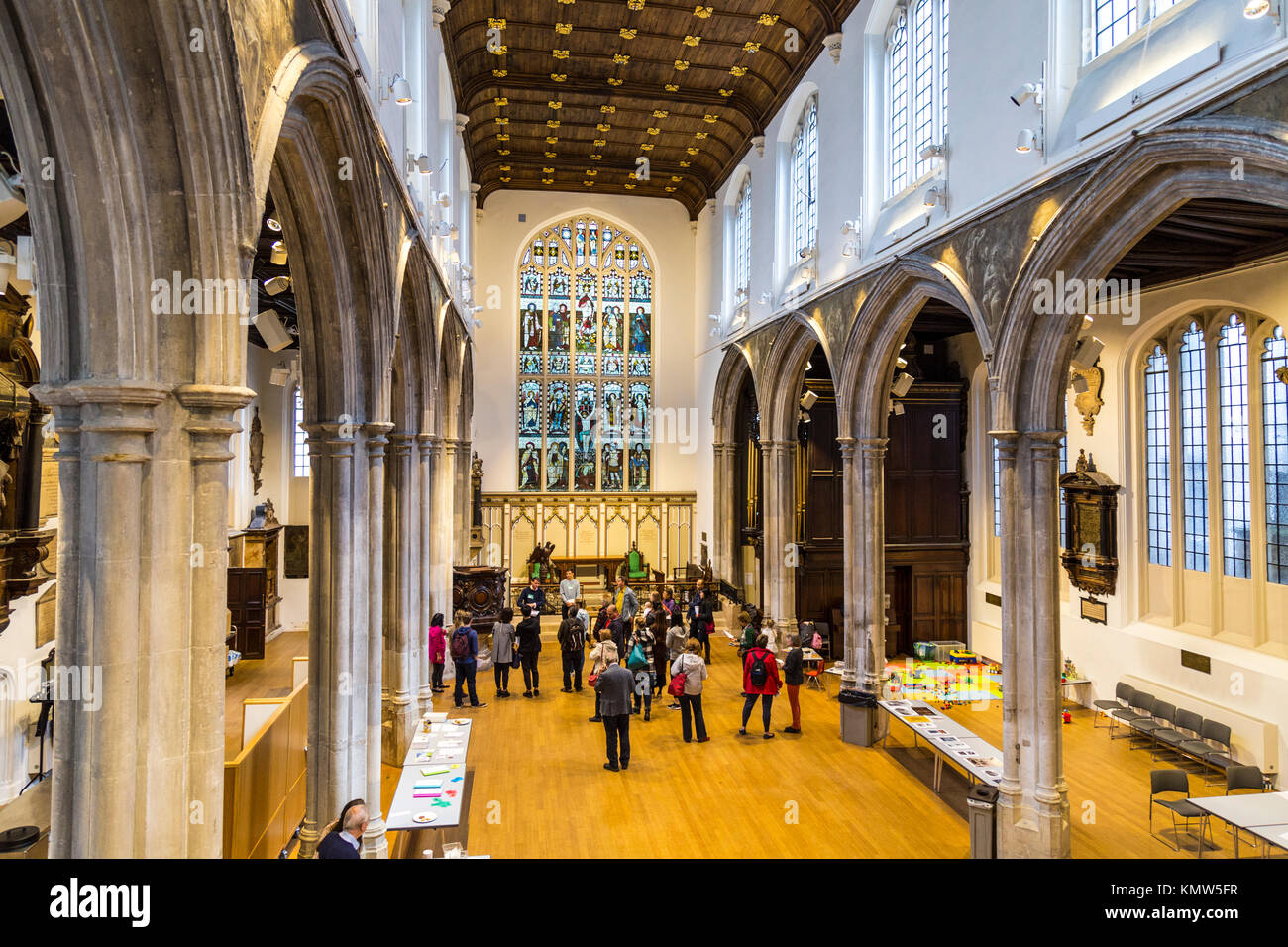 Interior of a small church (St Andrew Undershaft, London, UK) Stock Photo