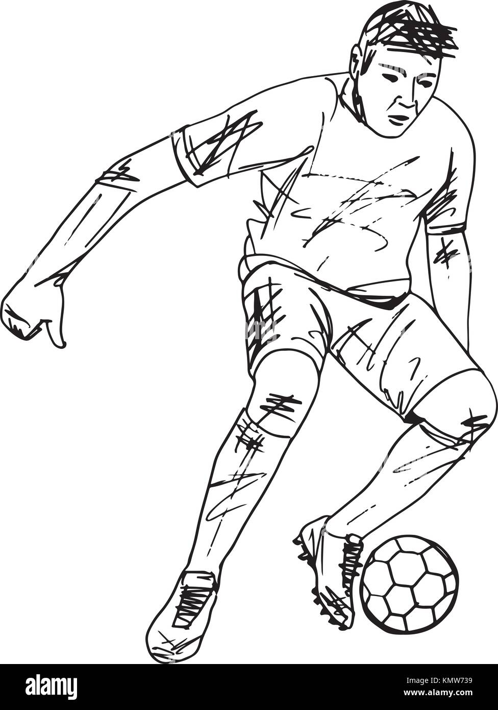 Sketch of Footbal player illustration - Stock Vector