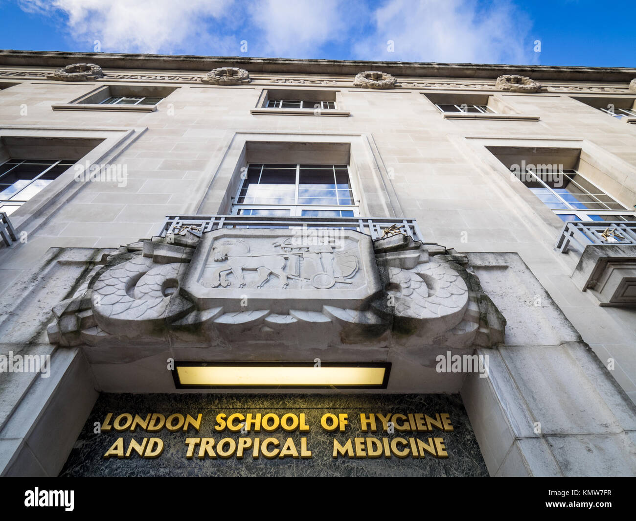 London School of Hygiene & Tropical Medicine, Bloomsbury, London. The art deco style building opened in 1929, architects Stock Photo
